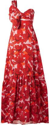 Cimarron Johanna Ortiz One-shoulder Printed Cotton-blend Poplin Maxi Dress - Red