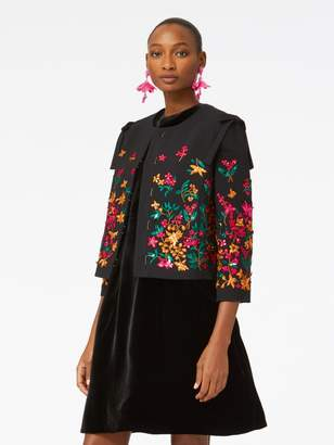 Oscar de la Renta Embroidered Double-Face Stretch-Wool Jacket