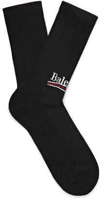 Balenciaga Intarsia Stretch Cotton-Blend Socks