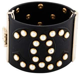 Chanel Faux Pearl & Leather Cuff