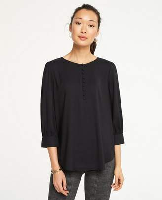 Ann Taylor Covered Button Puff Sleeve Blouse