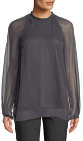 Monili-Collar Long-Sleeve Silk Georgette Blouse