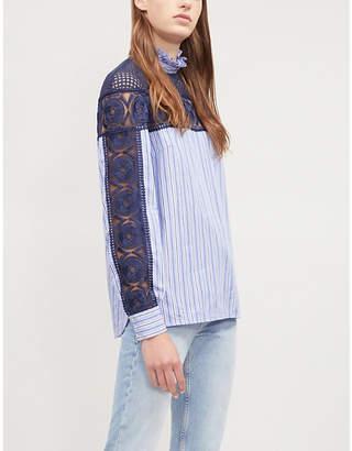 Sandro Floral-lace panel cotton top