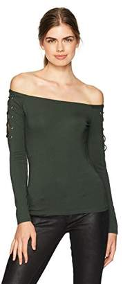 GUESS Women's Long Sleeve Catrina Off Shoulder Lace up Top