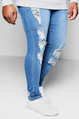 boohoo Big And Tall Distressed Detail Skinny Jean