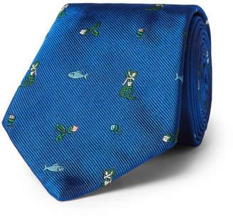 Prada 7cm Mermaid Silk-Jacquard Tie