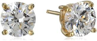 Swarovski Amazon Collection Yellow Gold Plated Sterling Silver Stud Earrings set with Round Cut Zirconia (3 cttw)