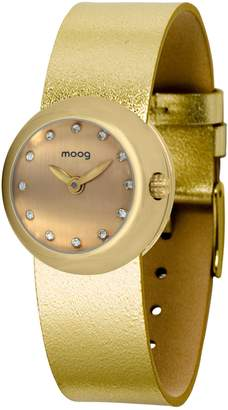 Swarovski Moog Paris Zoom Women's Watch with Dial, Gold Genuine Leather Strap & Elements - M45381-412