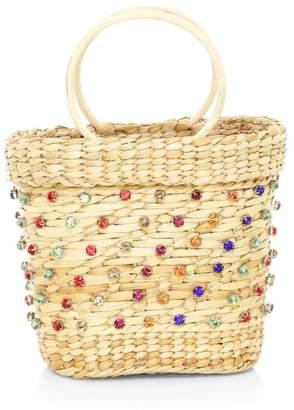Poolside Mini The Mak Crystal-Embellished Wicker Tote Bag