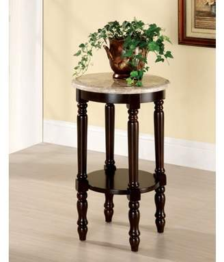 Ellington Leather Goods Furniture of America Round Side Table, Dark Cherry
