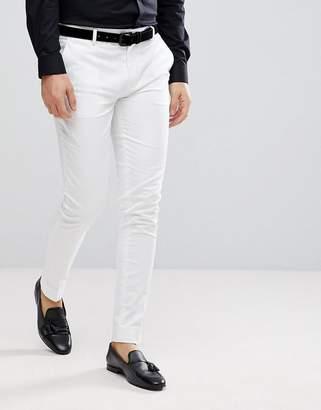 Asos DESIGN super skinny smart pants in white cotton sateen