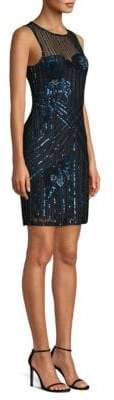 Parker Black Lorenza Beaded Sheath Dress