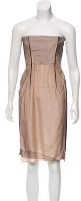 Alberta Ferretti Mesh Strapless Dress