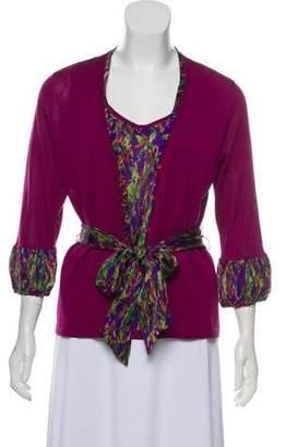 Magaschoni Printed Knit Cardigan Set