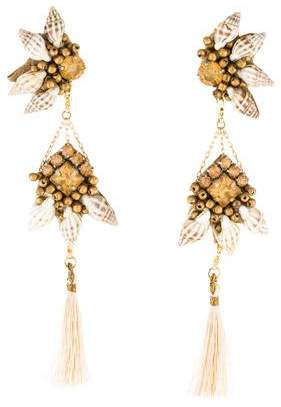 Deepa Gurnani Crystal & Shell Tassel Earrings