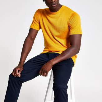 River Island Mens Selected Homme Yellow knit T-shirt