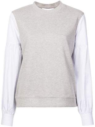 Derek Lam 10 Crosby Sweatshirt with Shirting Sleeves