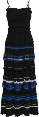 3.1 Phillip Lim Cutout Chiffon-trimmed Pleated Crepe De Chine Maxi Dress