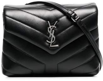 Saint Laurent black Monogram detail quilted leather bag