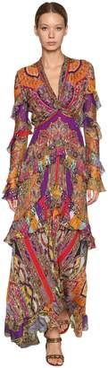 Etro Pique Printed Silk Long Dress W/ Ruffles