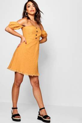 boohoo Broderie Anglais Button Front Mini Dress