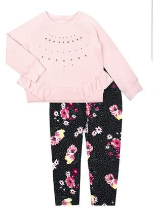 Aeropostale PS From Ruffle Sweater & Floral Leggings, 2-Piece Outfit Set (Toddler Girls)