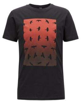 BOSS Hugo Crew-neck T-shirt water-based graphic print M Black