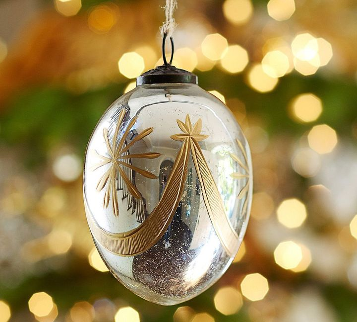 Pottery Barn Silver & Gold Mercury Glass Oval Ornament