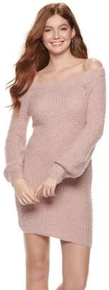 Almost Famous Juniors' Eyelash Off-Shoulder Mini Sweater Dress