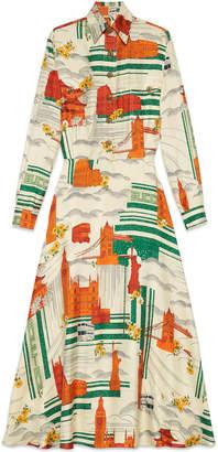 Illustrated Cities silk dress