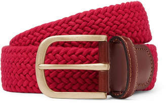 Anderson & Sheppard 3.5cm Red Leather-trimmed Woven Stretch-cotton Belt - Red