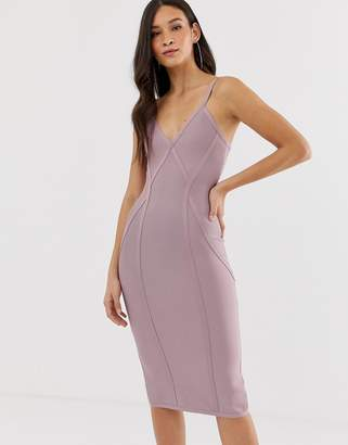 The Girlcode bandage v neck plunge dress with contour lines midi dress in  lilac 6d6298617