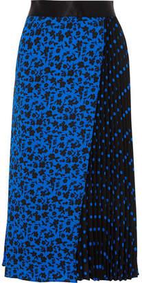Alice + Olivia Alice Olivia - Lilia Asymmetric Pleated Printed Satin-trimmed Crepe De Chine Midi Skirt - Blue