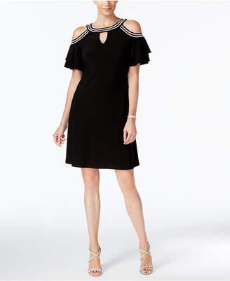 MSK Embellished Cold-Shoulder Keyhole Dress