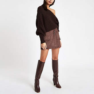 River Island Brown faux suede button front mini skirt