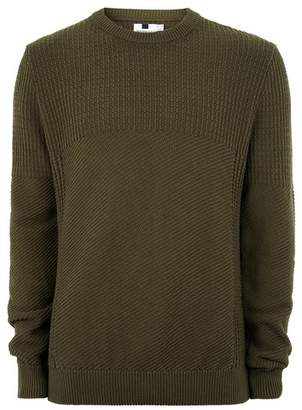 Topman Mens Khaki Stitch Sweater
