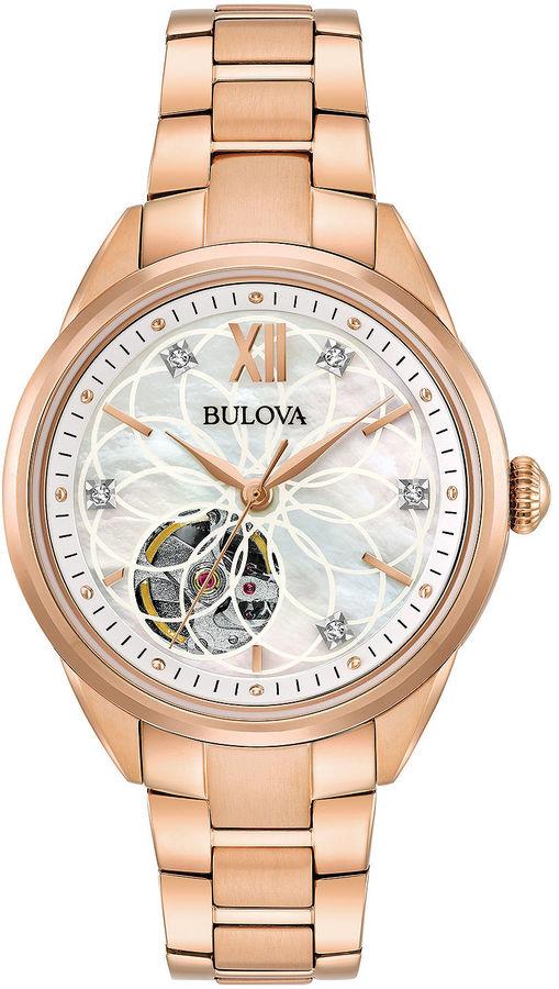 BulovaBulova Womens Rose Goldtone Bracelet Watch-97p121