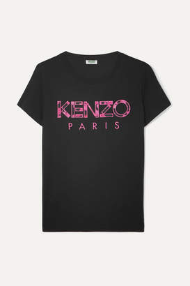 Kenzo Appliquéd Cotton-jersey T-shirt - Black