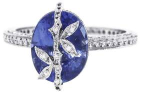 Cathy Waterman Oval Blue Sapphire Bamboo Engagement Ring