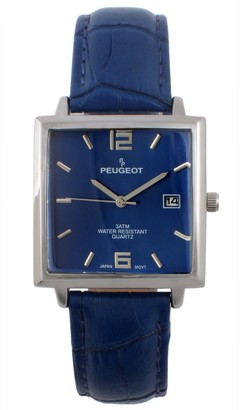 Peugeot Men's Stainless Rectangular Leather Strap Watch