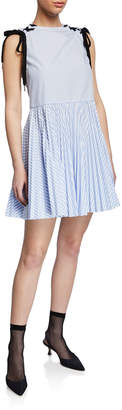 RED Valentino Striped Sleeveless Lace-Up-Shoulder Dress w/ Pleated Skirt