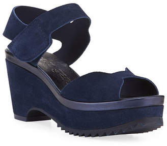 Pedro Garcia Fah Suede Wedge Sandals