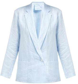 Loup Charmant Crossover Front Linen Blazer - Womens - Blue