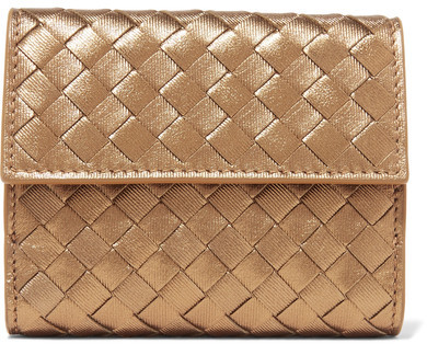 Bottega VenetaBottega Veneta - Intrecciato Leather Wallet - Gold