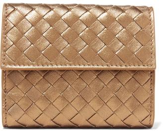 Bottega Veneta - Intrecciato Leather Wallet - Gold $550 thestylecure.com