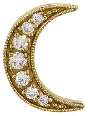 Andrea Fohrman Diamond Crescent Moon Single Stud Earring - Yellow Gold
