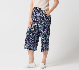 Factory Quacker Pull-On Palm Printed Wide-Leg Knit Crop Pants