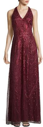 David Meister Women's Sequin Halter Gown