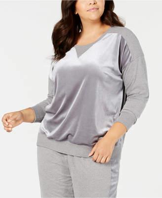 Alfani Plus Size Velvet-Panel Pajama Top, Created for Macy's