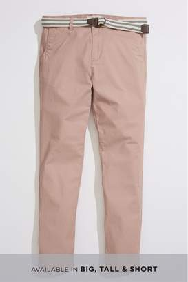 Next Mens Pink Slim Fit Lightweight Belted Trousers With Stretch - Pink